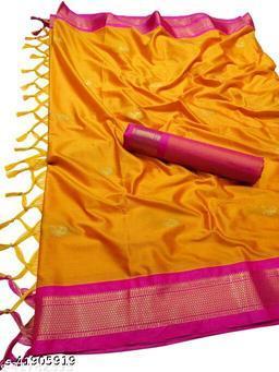 Sanskar Traditional Paithani Silk Sarees With Contrast Blouse Piece (Mango & Pink)