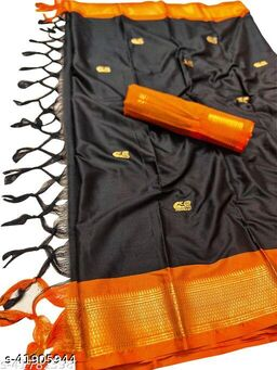 Sanskar Traditional Paithani Silk Sarees With Contrast Blouse Piece (Black & Orange)