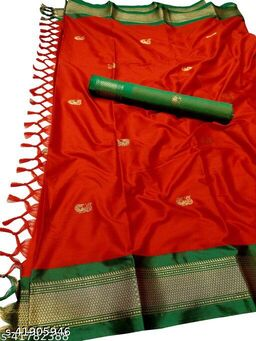 Sanskar Traditional Paithani Silk Sarees With Contrast Blouse Piece (Red & Green)
