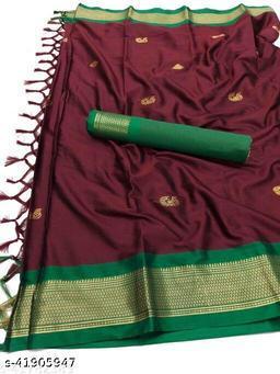 Sanskar Traditional Paithani Silk Sarees With Contrast Blouse Piece  (Brown & Green)