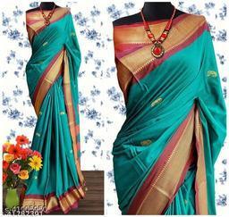 Sanskar Traditional Paithani Silk Sarees With Contrast Blouse Piece (Cyan & Brown)