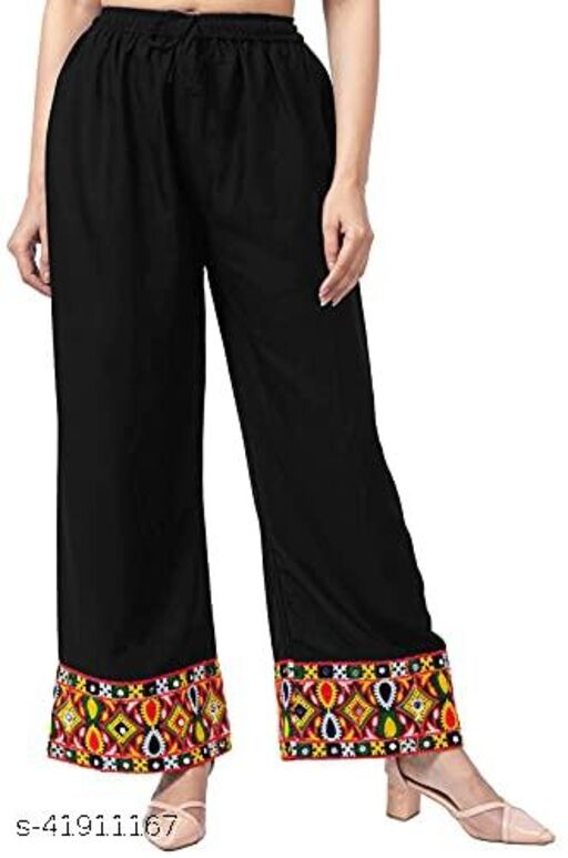 Mona'sk Women's Rayon Embroidery Work Palazzo Solid Soft Plain Design with Elastic
