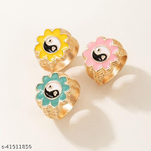 Arzonai Japanese and Korean new simple fashion flower gossip ring set ins style cute and fun Tai Chi ring 3-piece set