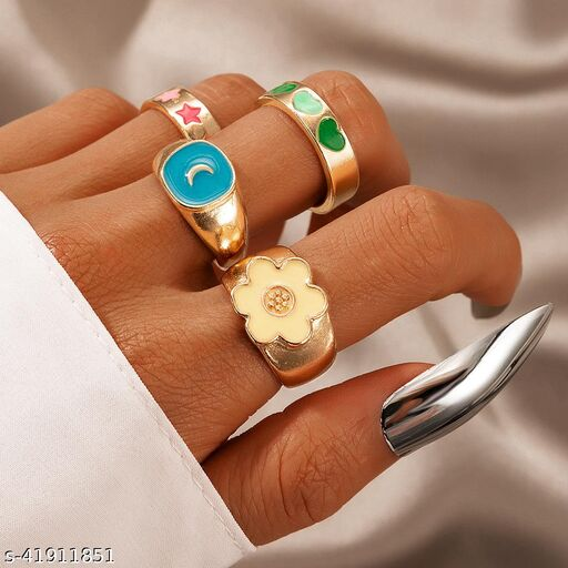 Arzonai Retro color dripping oil love flower star moon ring 4 piece set European and American fashion simple style cartoon ring