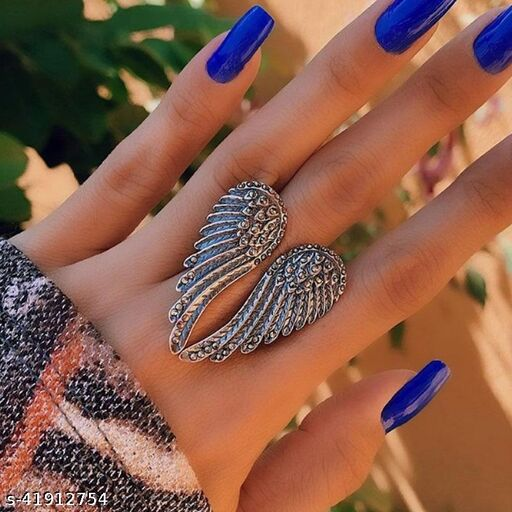Arzonai new accessories retro punk hip hop style single silver wing ring men and women ring