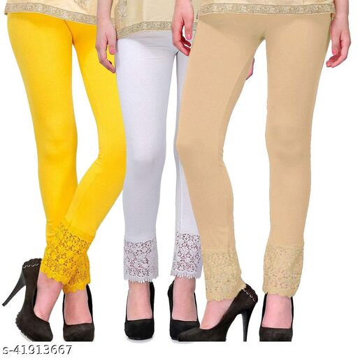 Trendy Viscose Lace Leggings For Womens
