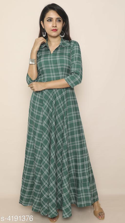 Checked Green Maxi Crepe Dress