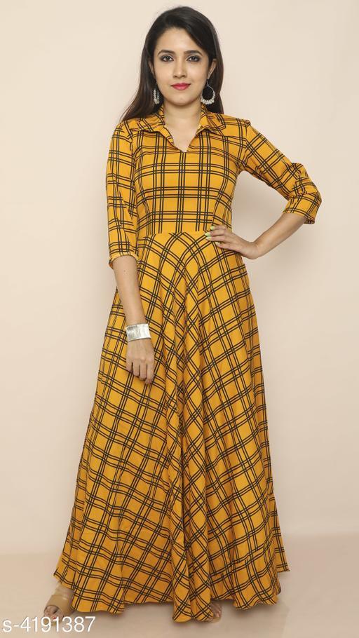Checked Yellow Maxi Crepe Dress