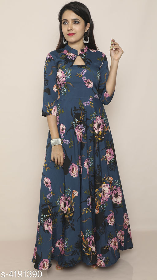 Printed Navy Blue Maxi Crepe Dress