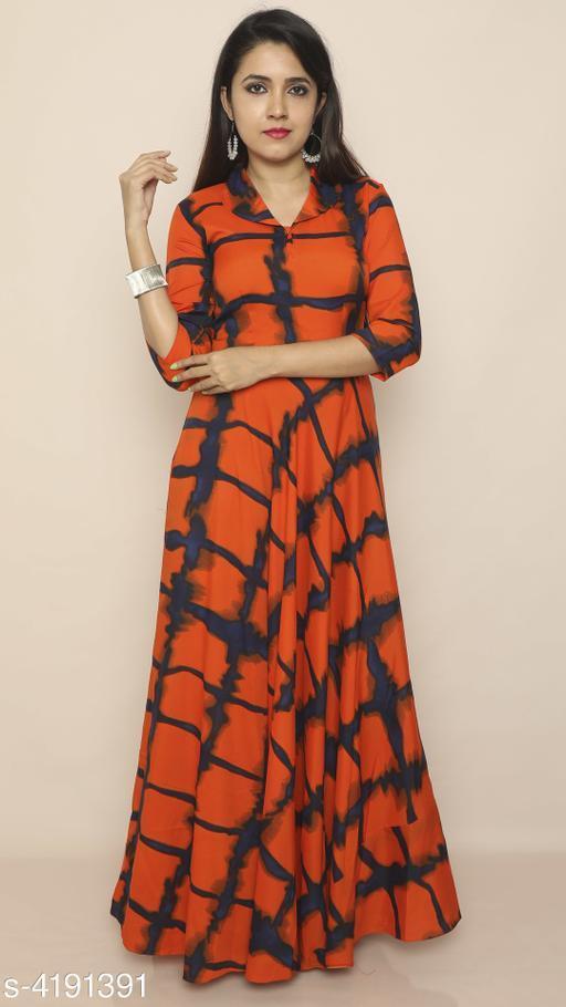 Dyed/ Washed Orange Maxi Crepe Dress