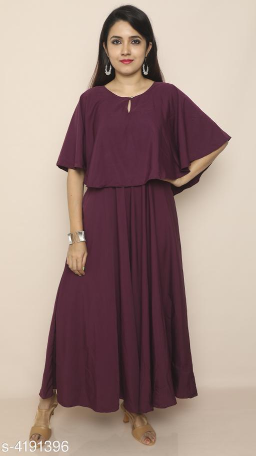 Solid Purple Maxi Crepe Dress