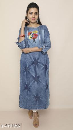 Women's Floral Printed Denim Kurti