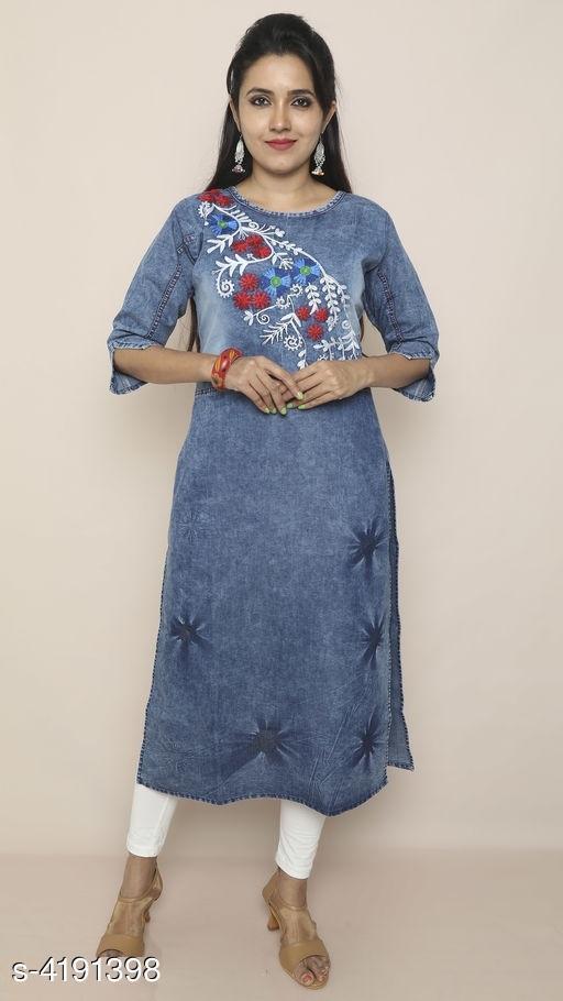 Women's Embroidered Denim Kurti