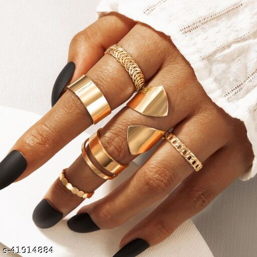 Arzonai  new joint ring creative geometric punk style bright face ring ring set 6 sets