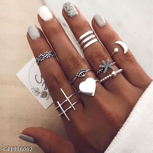 Arzonai European and American retro alloy love starfish geometric three-ring moon joint ring set 10-piece combination ring