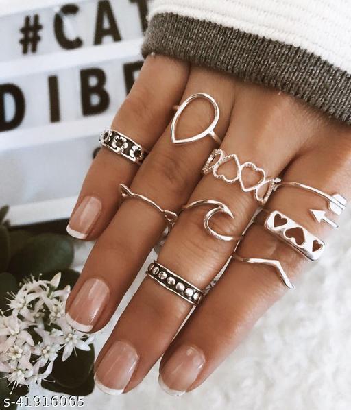 Arzonai  Retro style personality street fashion antique silver BOHO peach heart arrow bohemian style combination ring