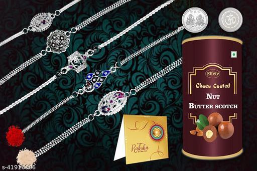 Rakshabandhan Silver Color / Plated Rakhi Set of 5 Rakhi/Bracelet with Chocolate Combo, Roli chawal, Pooja Coin & Greeting