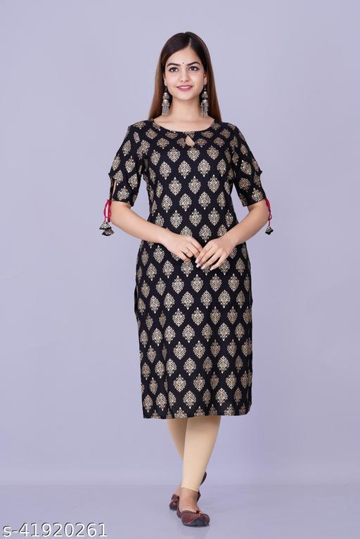 Womens Rayon gold printed long rayon kurta