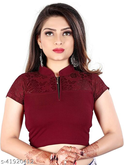 Readymade Stretchable cotton lycra Blouse stand collar zip