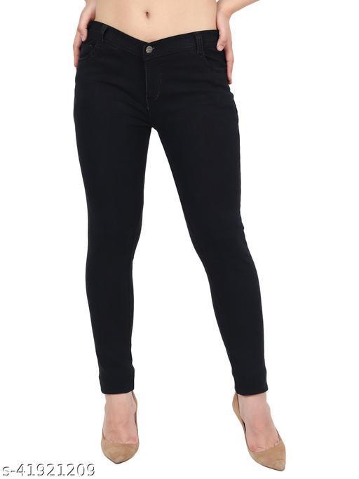 Urbane Women Black Skinny Fit Mid Rise Plain Denim Jeans