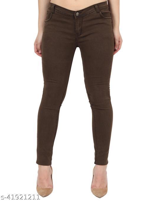 Urbane Women Brown Skinny Fit Mid Rise Plain Denim Jeans