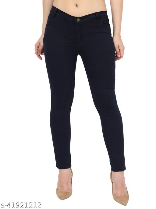 Urbane Women Carbon Blue Skinny Fit Mid Rise Plain Denim Jeans
