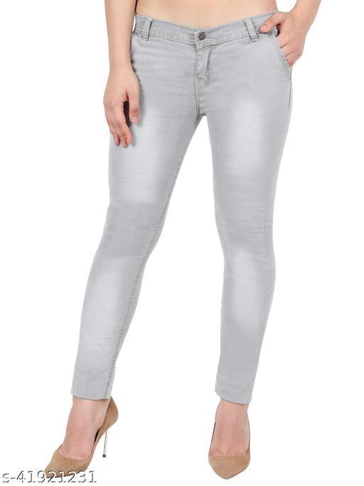 Pretty Women Light Grey Skinny Fit Mid Rise Faded Denim Jeans