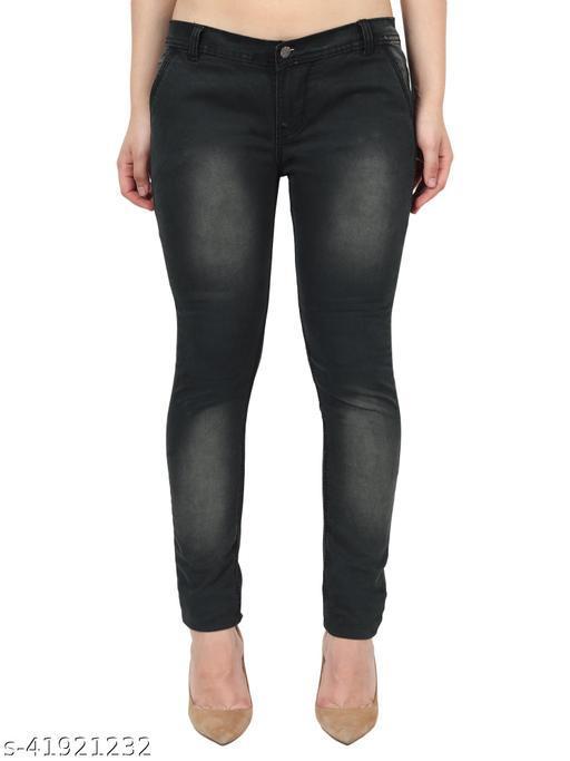 Pretty Women Greenish Skinny Fit Mid Rise Faded Denim Jeans
