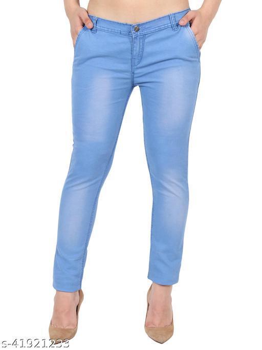 Pretty Women Ice Blue Skinny Fit Mid Rise Faded Denim Jeans
