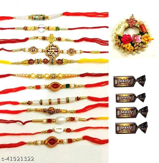 combo of beautiful rakhi plater with roli chaval with choclates and 12 pcs rakhi pack of 16 pcs