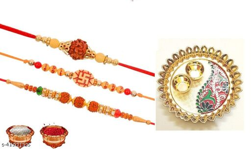 combo of beautiful rakhi plater with roli chaval and 3 pcs of rakhi pack of 6
