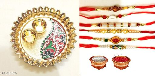 combo of beautiful rakhi plater with roli chaval with choclates and 6 pcs rakhi pack of 8 pcs