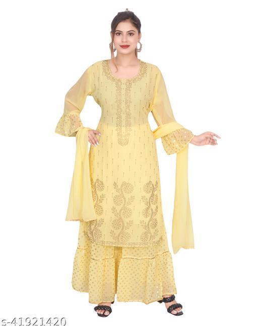 LAJAWAAB Women Straight Georgette Yellow Embroidered Kurti Sharara Set with Dupatta for Women | Embroidered Kurti Sharara Set With Dupatta | Yellow | Kurti Sharara Set with 2 Meter Dupatta