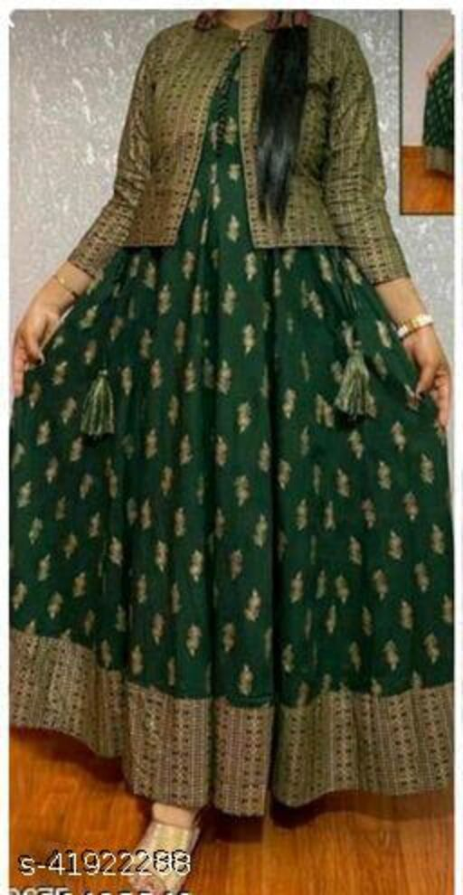 Rayon printed long gown with jacket