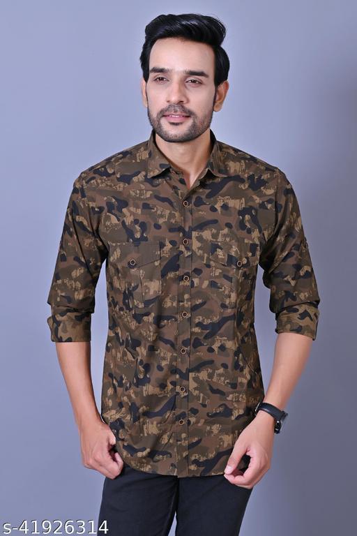 Men Cotton Army Printed Double Pocket Shirt