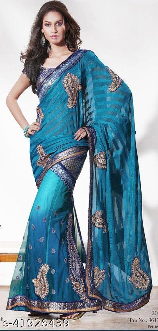 Designer Blue One Minute Lehenga Saree