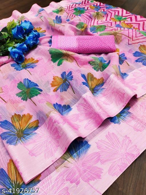 Rangat Linen Blend Semi Digital Printed Sarees with satin Silver Zari weaving border