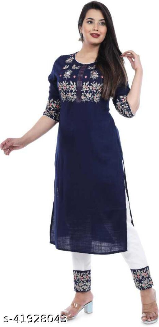 Blue Embroidery kurta with Pant