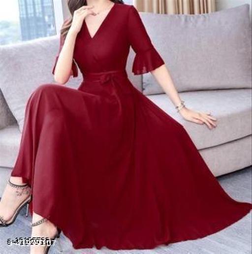 RAABTA MAROON V NECK LONG DRESS WITH KNOTES