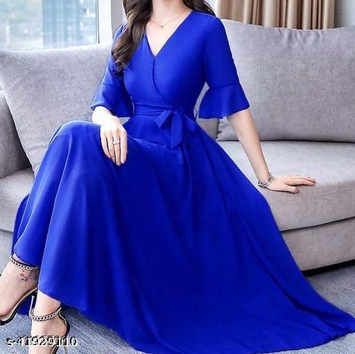 RAABTA ROYAL BLUE  V NECK LONG DRESS WITH KNOTES