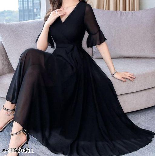 RAABTA BLACK V NECK LONG DRESS WITH KNOTES