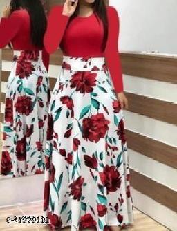 RAABTA RED UPPER FLOWER PRINTED LONG DRESS