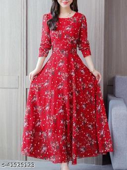 RAABTA  RED 25 FLOWER PRINTED LONG DRESS
