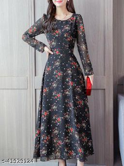 RAABTA BLACK 25 FLOWER PRINTED LONG DRESS