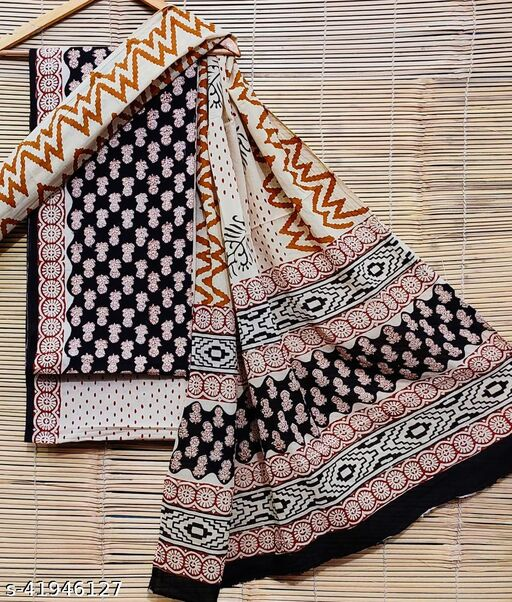 HAND BLOCK PRINTED COTTON 60*60 UNSTITCHED DRESS MATERIAL WITH COTTON DUPPTA