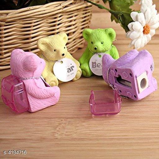 Teddy Shape Eraser For Kids/Bday Return Gifts (Pack Of 4)
