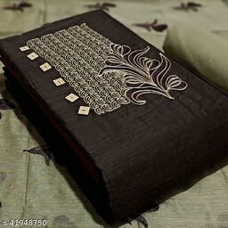 Pure Cotton Embroidered Salwar Suit & Dress  Material  (Brown )