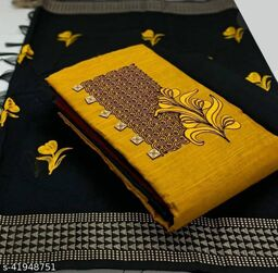 Pure Cotton Embroidered Salwar Suit & Dress  Material  (Yellow )