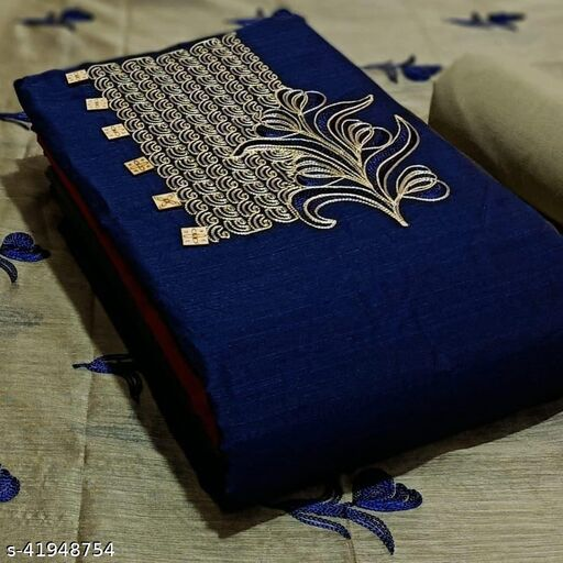 Pure Cotton Embroidered Salwar Suit & Dress  Material  (Navy Blue )
