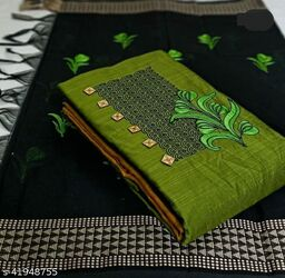 Pure Cotton Embroidered Salwar Suit & Dress  Material  (Green )